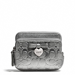 COACH EMBOSSED LIQUID GLOSS DOUBLE ZIP COIN WALLET - SILVER/SILVER - F65384