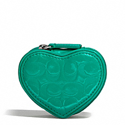 COACH EMBOSSED LIQUID GLOSS HEART JEWELRY POUCH - SILVER/BRIGHT JADE - F65385