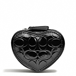 EMBOSSED LIQUID GLOSS HEART JEWELRY POUCH - SILVER/BLACK - COACH F65385