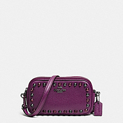 OUTLINE STUDS CROSSBODY POUCH IN PEBBLE LEATHER - f65390 - BLACK ANTIQUE NICKEL/PLUM