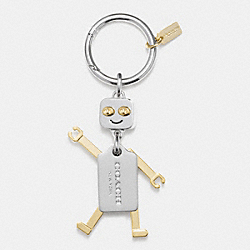 COACH METAL ROBOT KEY RING - SILVER/GOLD - COACH F65429
