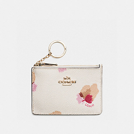 COACH f65439 MINI ID SKINNY IN FLORAL PRINT COATED CANVAS LIGHT GOLD/CHALK/FIELD FLORAL