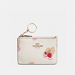 MINI ID SKINNY IN FLORAL PRINT COATED CANVAS - LIGHT GOLD/CHALK/FIELD FLORAL - COACH F65439
