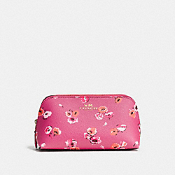 COACH COSMETIC CASE 17 IN WILDFLOWER PRINT COATED CANVAS - IMITATION GOLD/DAHLIA MULTI - F65441