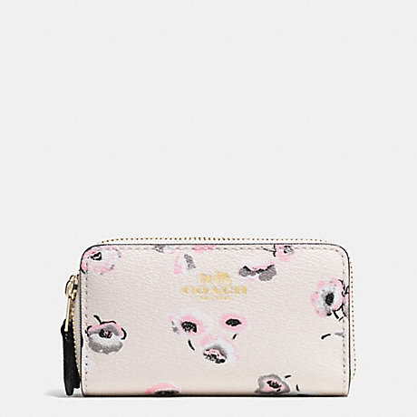 COACH SMALL DOUBLE ZIP COIN CASE IN WILDFLOWER PRINT COATED CANVAS - IMITATION GOLD/CHALK MULTI - f65442