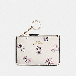 COACH KEY POUCH WITH GUSSET IN WILDFLOWER PRINT COATED CANVAS - IMITATION GOLD/CHALK MULTI - F65444
