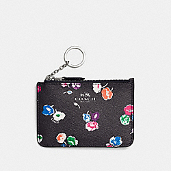 COACH KEY POUCH WITH GUSSET IN WILDFLOWER PRINT COATED CANVAS - SILVER/RAINBOW MULTI - F65444