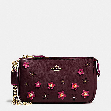 COACH f65471 LARGE WRISTLET 19 IN FLORAL APPLIQUE LEATHER IMITATION GOLD/OXBLOOD 1