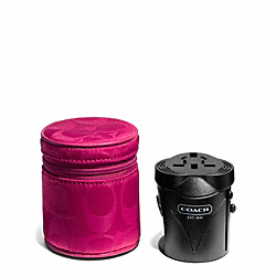 COACH SIGNATURE NYLON TRAVEL ADAPTOR - SILVER/FUCHSIA - F65480