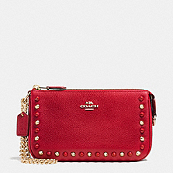 COACH OUTLINE STUDS NOLITA WRISTLET 19 IN LEATHER - LIGHT GOLD/TRUE RED - F65486