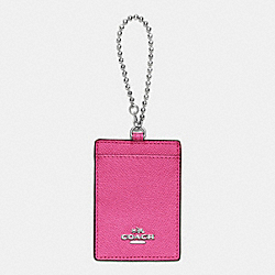 COACH ID HOLDER IN CROSSGRAIN LEATHER - SILVER/DAHLIA - F65487