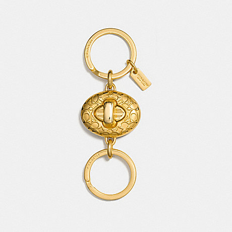COACH SIGNATURE TURNLOCK VALET KEY RING - GOLD - F65501