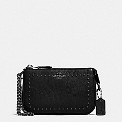 COACH EDGE STUDS NOLITA WRISTLET 15 IN LEATHER - ANTIQUE NICKEL/BLACK - F65503