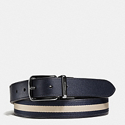 COACH HARNESS CUT-TO-SIZE REVERSIBLE VARSITY STRIPE WEB BELT - MIDNIGHT NAVY - F65525