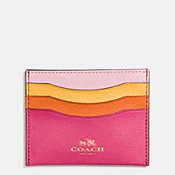 COACH CARD CASE IN RAINBOW COLORBLOCK LEATHER - IMITATION GOLD/DAHLIA MULTI - F65527
