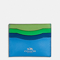 COACH CARD CASE IN RAINBOW COLORBLOCK LEATHER - SILVER/AZURE MULTI - F65527