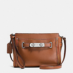 COACH SWAGGER WRISTLET IN RAINBOW STITCH LEATHER - SILVER/SADDLE - COACH F65531