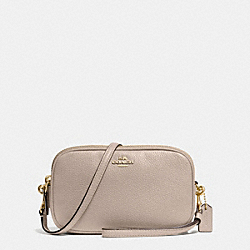 CROSSBODY CLUTCH IN POLISHED PEBBLE LEATHER - f65547 - SILVER/GREY BIRCH