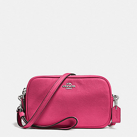 COACH CROSSBODY CLUTCH IN PEBBLE LEATHER - SILVER/DAHLIA - f65547