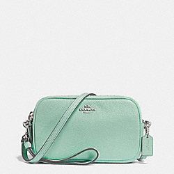 CROSSBODY CLUTCH IN PEBBLE LEATHER - f65547 - SILVER/SEAGLASS