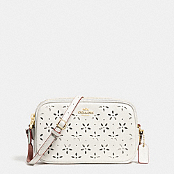 COACH CROSSBODY POUCH IN LASER CUT LEATHER - IMITATION GOLD/CHALK GLITTER - F65553