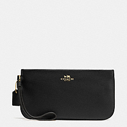 COACH LARGE WRISTLET IN CROSSGRAIN LEATHER - IMITATION GOLD/BLACK - F65555