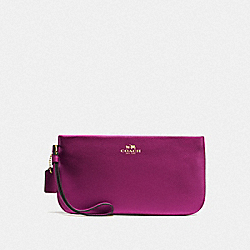 COACH LARGE WRISTLET IN CROSSGRAIN LEATHER - IMITATION GOLD/FUCHSIA - F65555