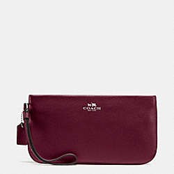 COACH LARGE WRISTLET IN CROSSGRAIN LEATHER - SILVER/BURGUNDY - F65555