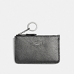 KEY POUCH WITH GUSSET - SV/GUNMETAL - COACH F65566