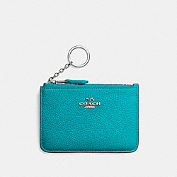 KEY POUCH WITH GUSSET - SV/TURQUOISE - COACH F65566