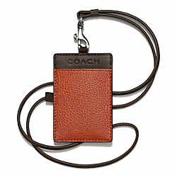 COACH CAMDEN LEATHER EAST/WEST LANYARD - ORANGE/MAHOGANY - F65656