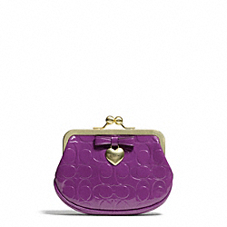 COACH EMBOSSED LIQUID GLOSS FRAMED COIN PURSE - ONE COLOR - F65657