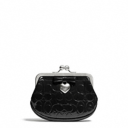 COACH EMBOSSED LIQUID GLOSS FRAMED COIN PURSE - SILVER/BLACK - F65657