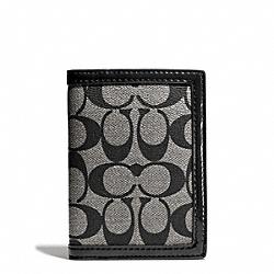 PARK SIGNATURE PVC PASSPORT CASE - SILVER/BLACK/WHITE/BLACK - COACH F65699
