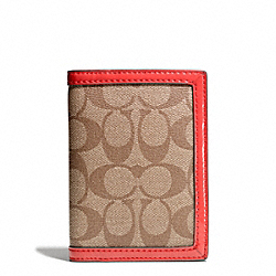COACH PARK SIGNATURE PVC PASSPORT CASE - SILVER/KHAKI/VERMILLION - F65699