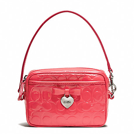 COACH EMBOSSED LIQUID GLOSS EAST/WEST MULTI POUCH - SILVER/CORAL - f65715
