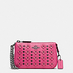 NOLITA WRISTLET 15 IN FLORAL RIVETS LEATHER - DARK GUNMETAL/DAHLIA - COACH F65726