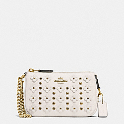 COACH FLORAL RIVETS NOLITA WRISTLET 15 IN PEBBLE LEATHER - LIGHT GOLD/CHALK - F65726
