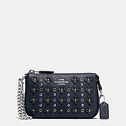 COACH NOLITA WRISTLET 15 IN FLORAL RIVETS LEATHER - SILVER/NAVY/BLACK - F65726
