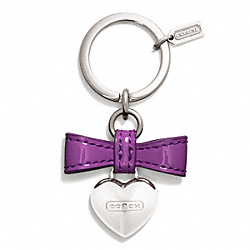 BOW HEART CHARM KEY RING COACH F65740