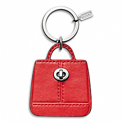 COACH PARK HANDBAG KEY RING - SILVER/VERMILLION - F65741
