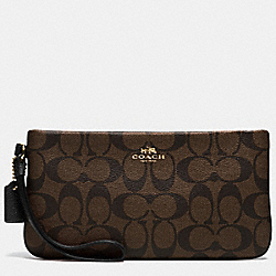 COACH LARGE WRISTLET IN SIGNATURE - IMITATION GOLD/BROWN/BLACK - F65748