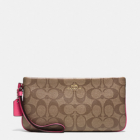 COACH LARGE WRISTLET IN SIGNATURE - IMITATION GOLD/KHAKI/DAHLIA - f65748