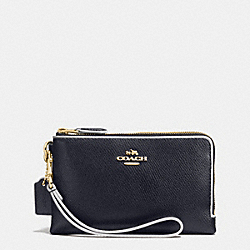 COACH DOUBLE CORNER ZIP WRISTLET IN EDGEPAINT CROSSGRAIN LEATHER - IMITATION GOLD/MIDNIGHT/CHALK - F65755