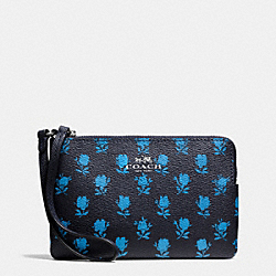 COACH CORNER ZIP WRISTLET IN BADLANDS FLORAL PRINT COATED CANVAS - SILVER/MIDNIGHT MULTI - F65761