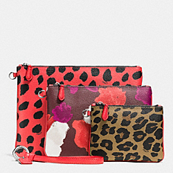 COACH POUCH TRIO IN PRINTED COATED CANVAS - SILVER/WATERMELON - F65764