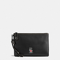 MICKEY TURNLOCK WRISTLET IN GLOVETANNED LEATHER - f65792 - DARK GUNMETAL/BLACK