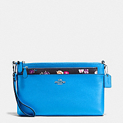 WRISTLET WITH POP UP POUCH IN WILDFLOWER PRINT COATED CANVAS - f65805 - SILVER/AZURE MULTI