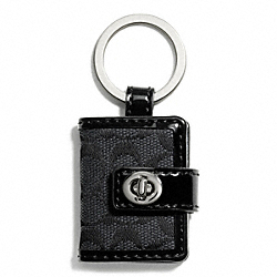 COACH SIGNATURE TURNLOCK PICTURE FRAME KEY RING - SILVER/BLACK GREY/BLACK - F65817