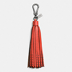 COACH LONG TASSEL BAG CHARM - BLACK/CARMINE - F65834